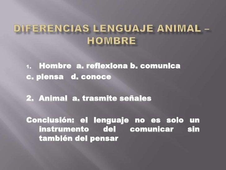 Diferencias lenguaje animal – hombre<br />Hombre  a. reflexiona b. comunica<br />c. piensa   d. conoce<br />2.  Animal  a....