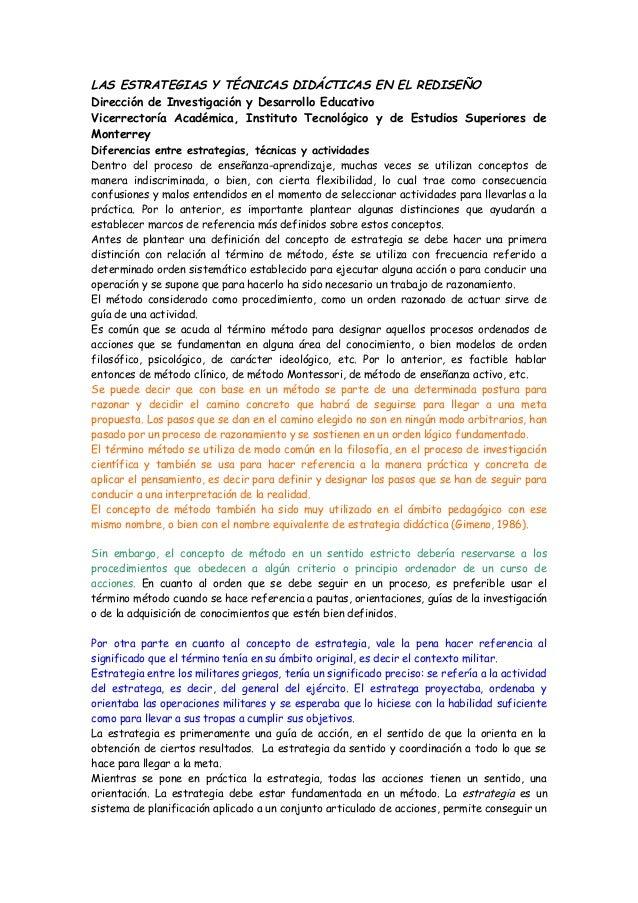 Diferencia tecnica estrategia y actividad