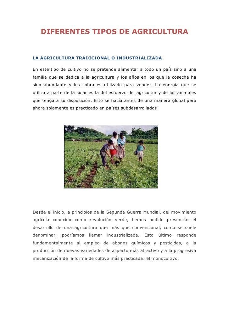 DIFERENTES TIPOS DE AGRICULTURALA AGRICULTURA TRADICIONAL O INDUSTRIALIZADAEn este tipo de cultivo no se pretende alimenta...