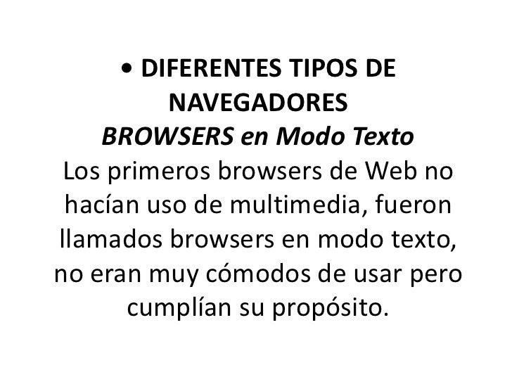 Diferentes tipos de navegadores