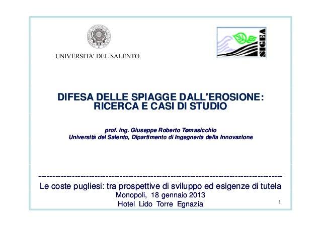 UNIVERSITA' DEL SALENTO      DIFESA DELLE SPIAGGE DALLEROSIONE:            RICERCA E CASI DI STUDIO                       ...
