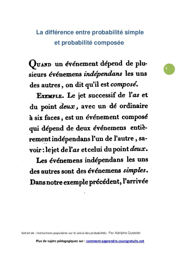 Diff rence entre la probabilit simple et la probabilit for Difference entre pieux et micropieux