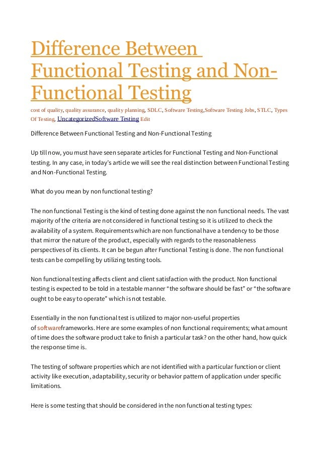 difference between functional and nonfunctional testing pdf