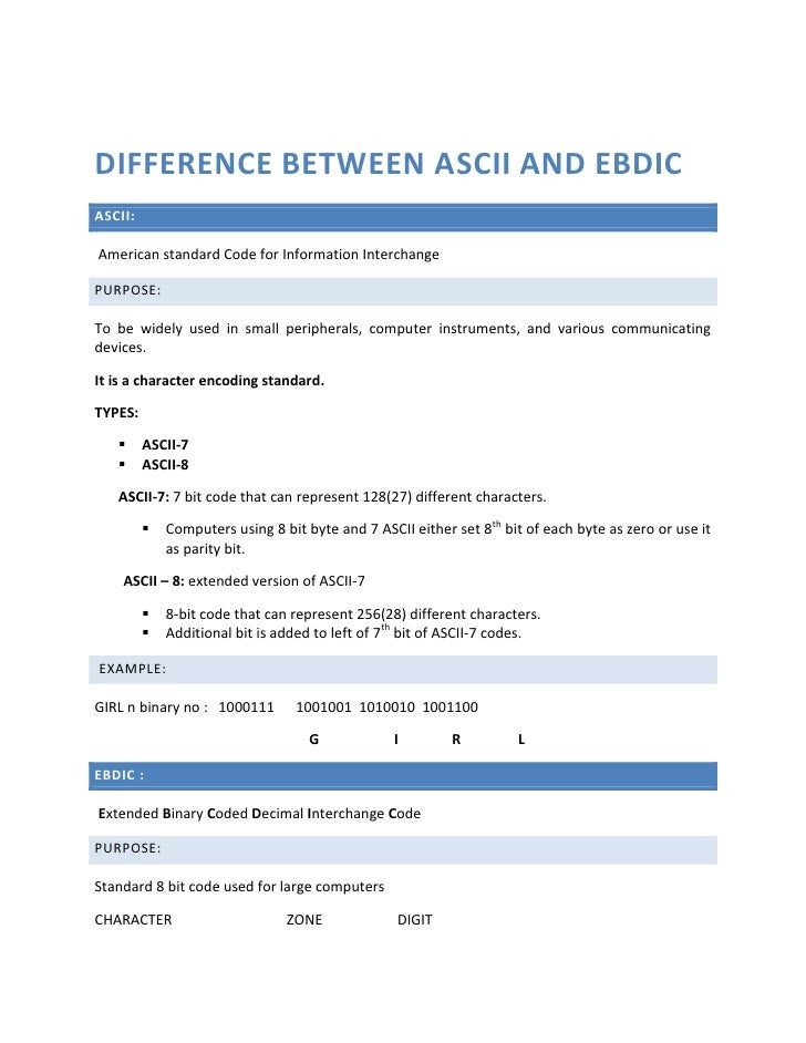 Difference between ASCII and EBDIC<br />ASCII:<br /> American standard Code for Information Interchange<br />PURPOSE: <br ...