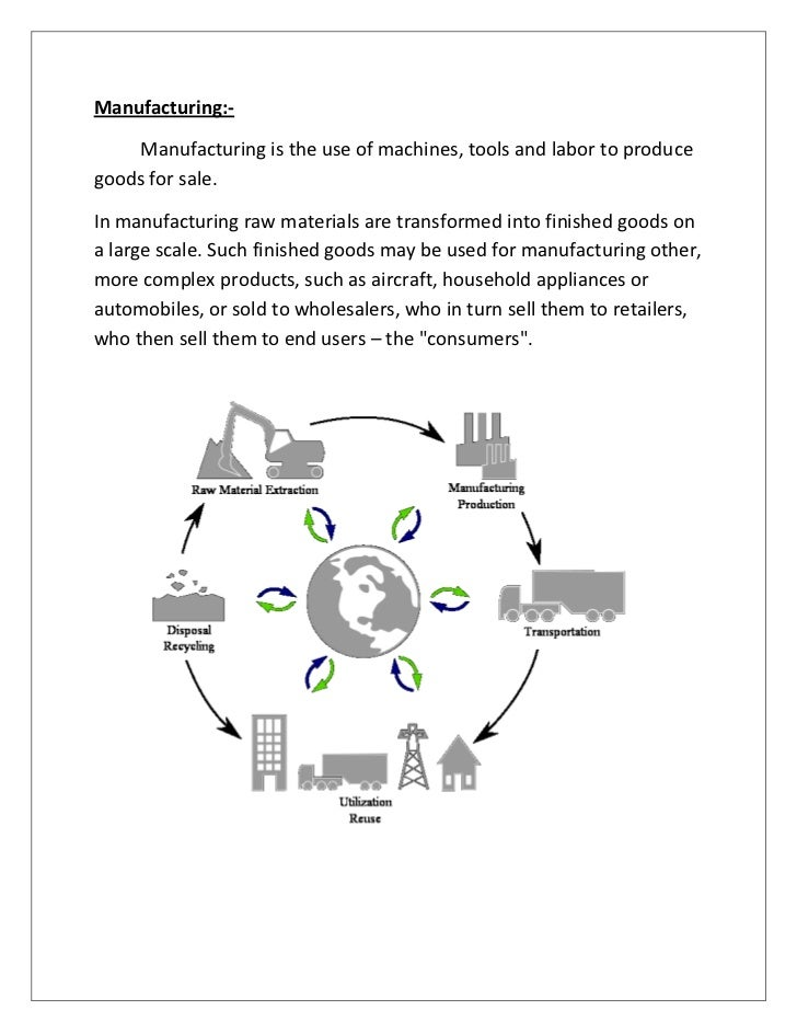 Manufacturing:-     Manufacturing is the use of machines, tools and labor to producegoods for sale.In manufacturing raw ma...