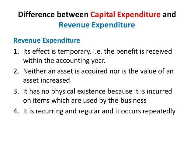 difference between capital and revenue items of expenditure and income essay Budget preparation is the principal mechanism for achieving items (1) and (2)  item (3)  revenue and expenditure (as well as borrowing constraints) should be   (2) the definition of the financial relations between national and subnational  levels of  in such cases, the capital budget may be prepared by a planning or.