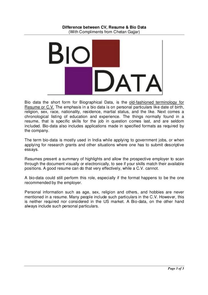 how to write a biodata