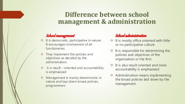 differences between management administration