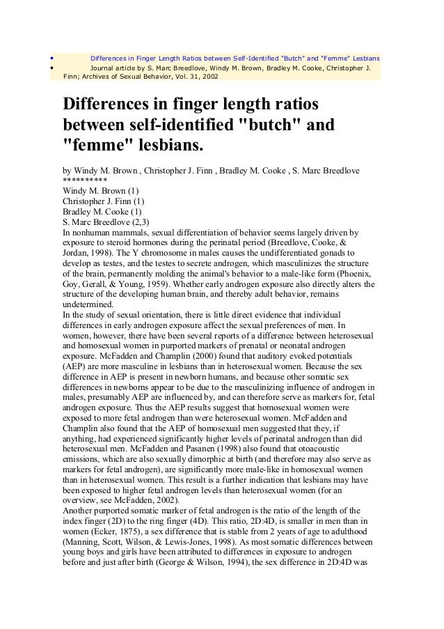 """•           Differences in Finger Length Ratios between Self-Identified """"Butch"""" and """"Femme"""" Lesbians•           Journal ar..."""