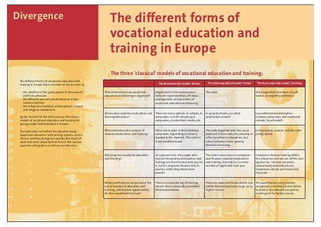 The different forms of vocational education and training in Europe Divergence The different forms of vocational education ...