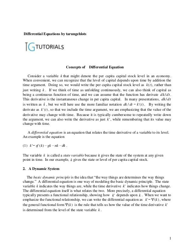 Differential Equations by tarungehlots                             Concepts of     Differential Equation   Consider a vari...
