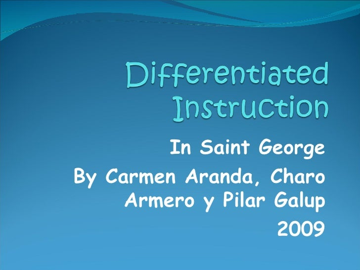 Differentiated Instruction Presentacion In Service Training 2009