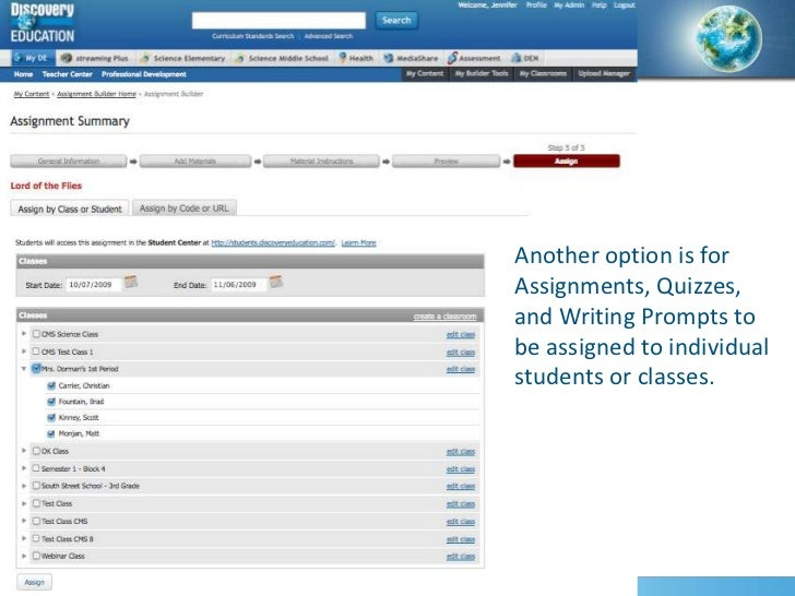 Assignment education discovery