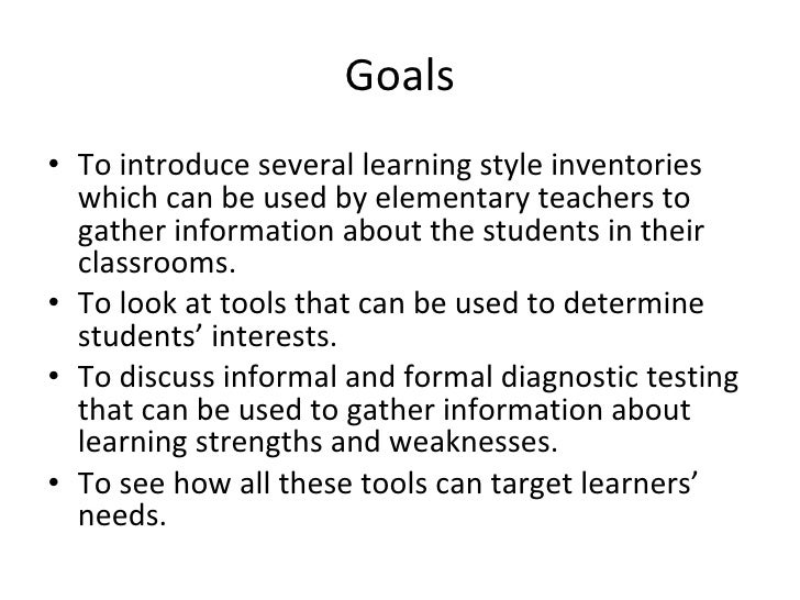 learning styles inventory Ensures that each student's learning style preference is addressed, thereby enhancing opportunities for the student to learning styles inventory iii.