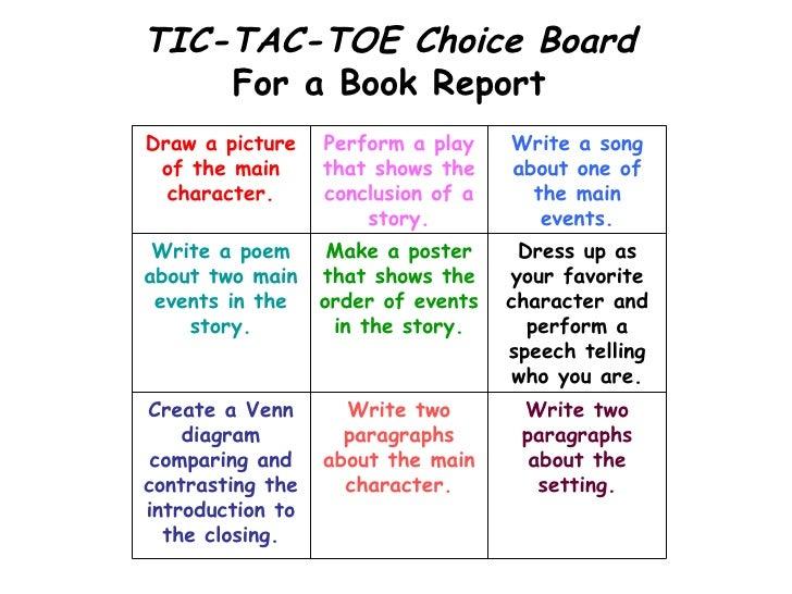 tic tac toe book report project