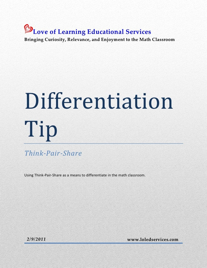 Differentiation tip  think pair-share