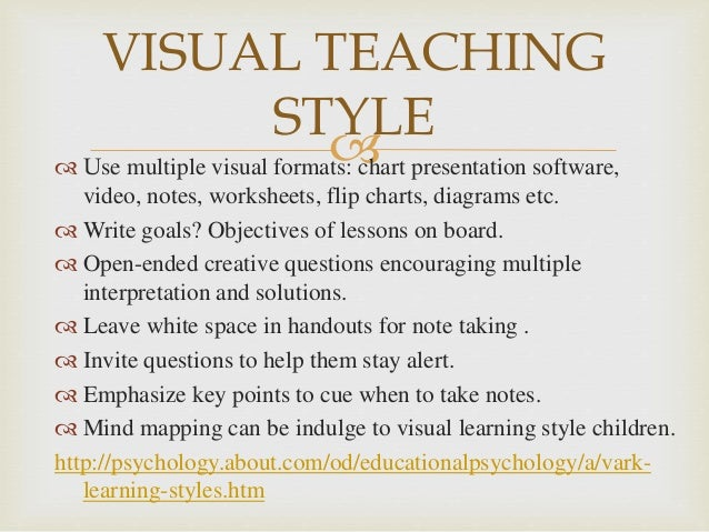 visual learner essay Visual learner essays i am a visual learner, and in order for me to retain  information, everything i learn has to be digested thru my eyes i took the index of .
