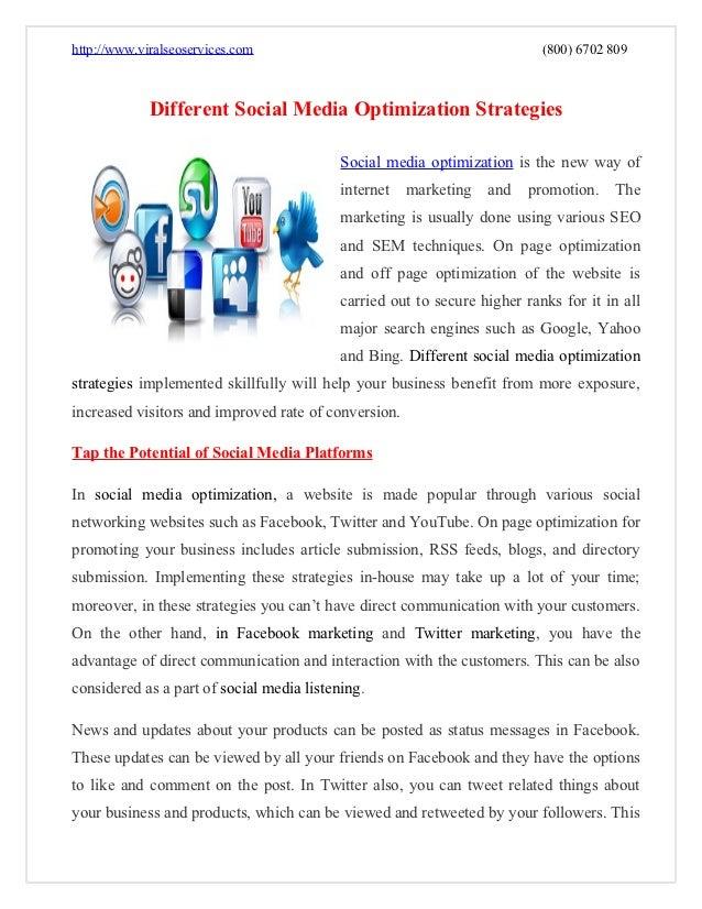 Different social media optimization strategies pdf