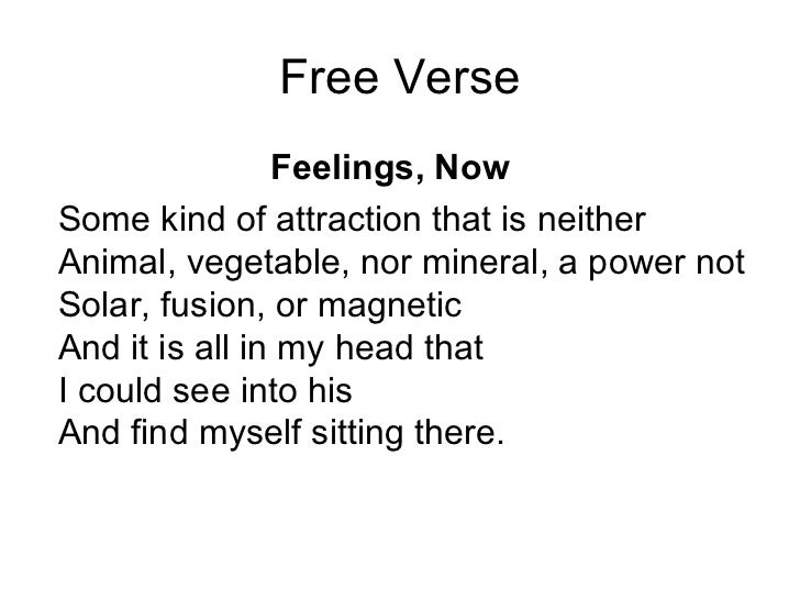 how to write free verse poems A powerpoint focusing on a free verse poem, covering four lessons (could easily be extended to five) the lessons are as follows: 1 - looking at a good.