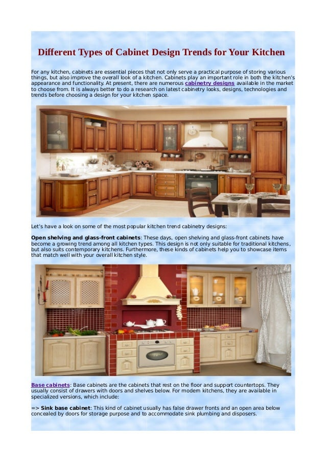 different types of cabinet design trends for your kitchen