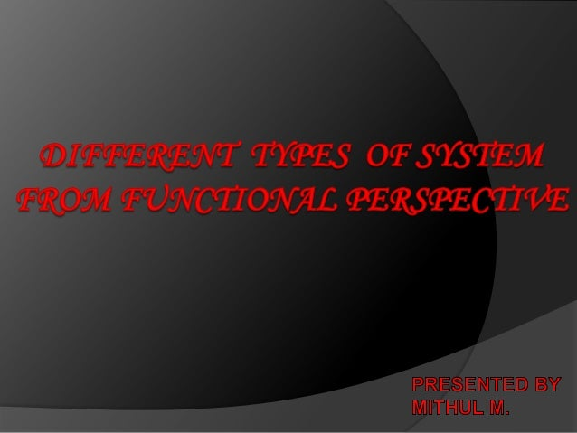 Different types of information system from functional perspective