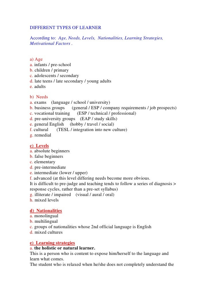 Different types of learner   a history of efl