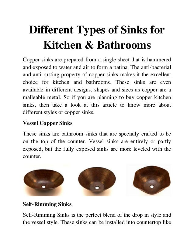 Different types of sinks for kitchen and bathrooms for Different types of sinks