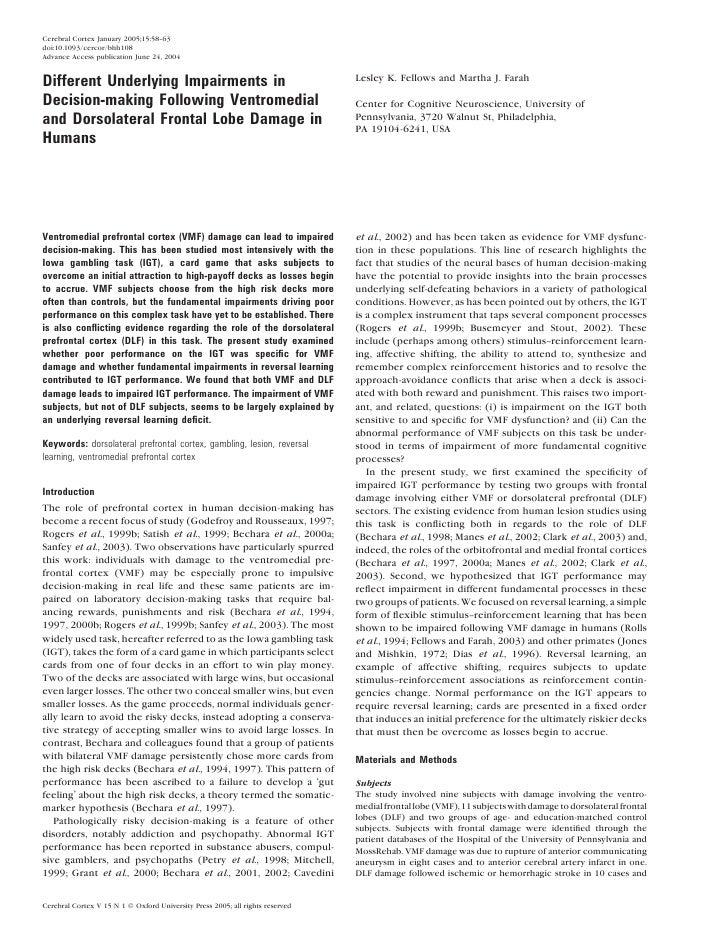 Cerebral Cortex January 2005;15:58--63 doi:10.1093/cercor/bhh108 Advance Access publication June 24, 2004   Different Unde...