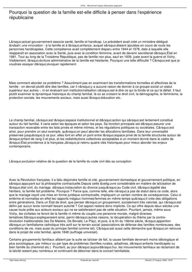 Difficulté De Penser La Famille Historicité Uf Al Aout 2009