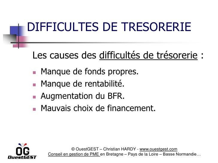 DIFFICULTES DE TRESORERIELes causes des difficultés de trésorerie :   Manque de fonds propres.   Manque de rentabilité....