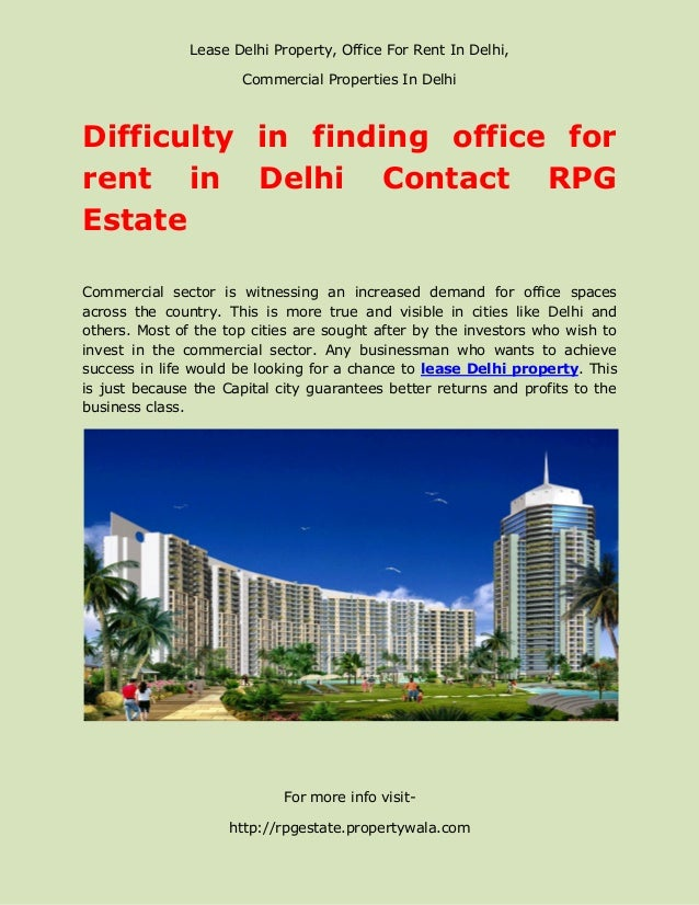 Lease Delhi Property, Office For Rent In Delhi,                       Commercial Properties In DelhiDifficulty in finding ...