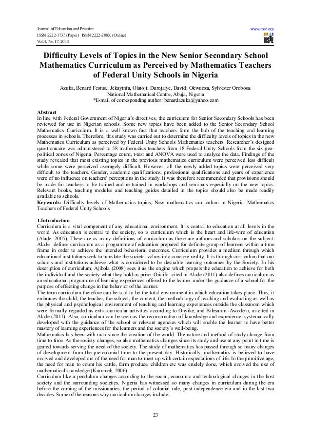 Difficulty levels of topics in the new senior secondary school mathematics curriculum as perceived by mathematics teachers of federal unity schools in nigeria