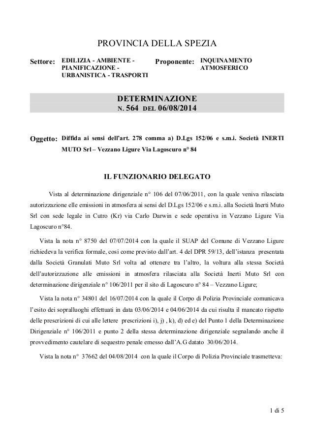 PROVINCIA DELLA SPEZIA Settore: EDILIZIA - AMBIENTE - PIANIFICAZIONE - URBANISTICA - TRASPORTI Proponente: INQUINAMENTO AT...