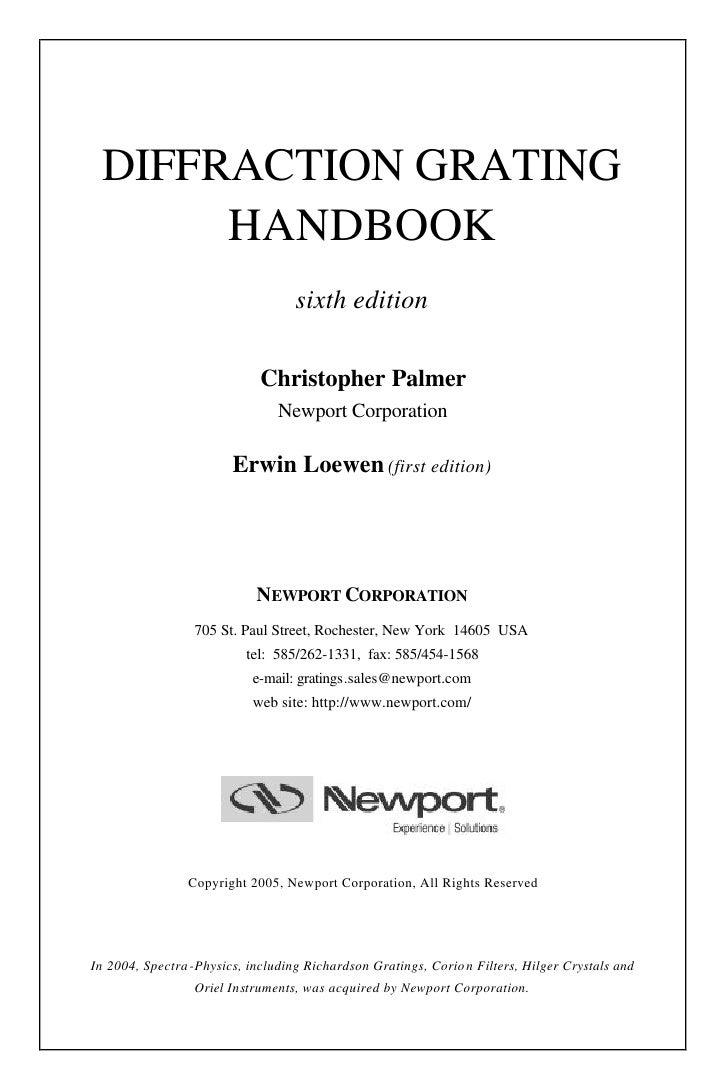 DIFFRACTION GRATING       HANDBOOK                                    sixth edition                               Christop...