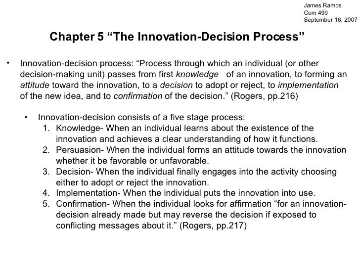 """<ul><li>Chapter 5 """"The Innovation-Decision Process"""" </li></ul><ul><li>Innovation-decision process: """"Process through which ..."""