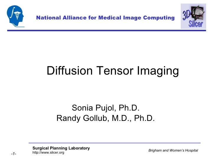 Diffusion Tensor Imaging Sonia Pujol, Ph.D. Randy Gollub, M.D., Ph.D. National Alliance for Medical Image Computing