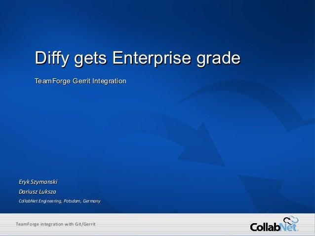 1 Copyright ©2014 CollabNet, Inc. All Rights Reserved.ENTERPRISE CLOUD DEVELOPMENT TeamForge integration with Git/Gerrit D...