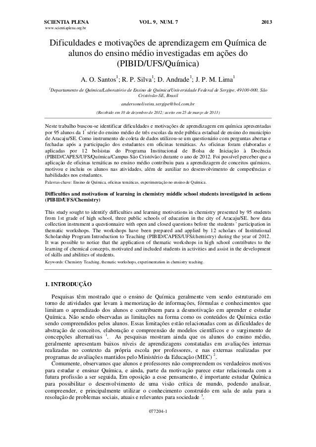 Dificuldades e motivações de aprendizagem em Química de alunos do ensino médio investigadas em ações do (PIBID/UFS/Química)