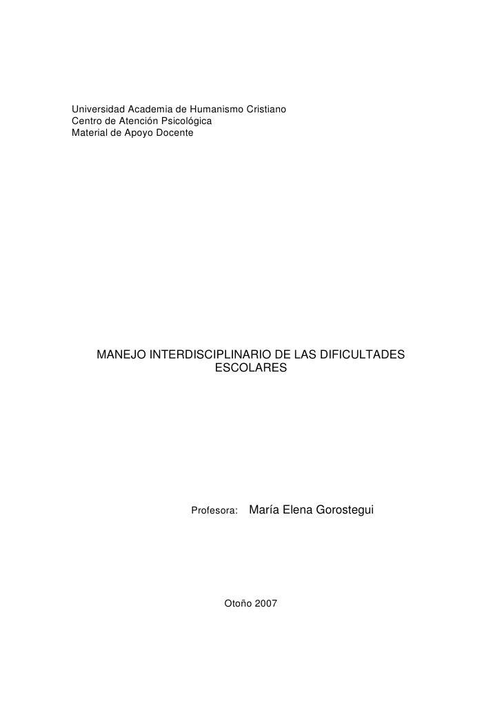 Universidad Academia de Humanismo CristianoCentro de Atención PsicológicaMaterial de Apoyo Docente     MANEJO INTERDISCIPL...