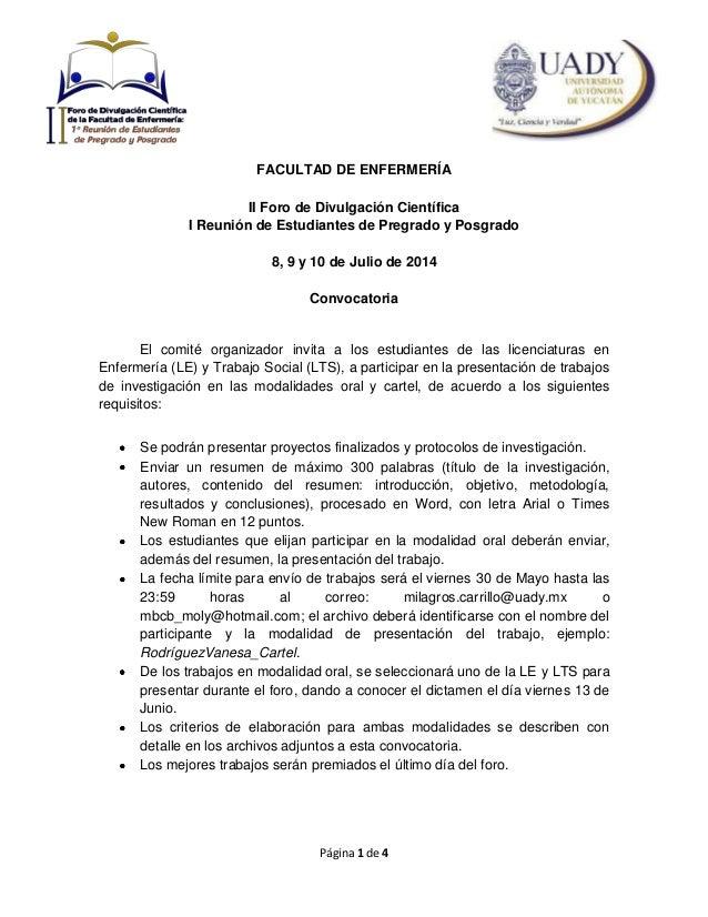 Página 1 de 4 FACULTAD DE ENFERMERÍA II Foro de Divulgación Científica I Reunión de Estudiantes de Pregrado y Posgrado 8, ...