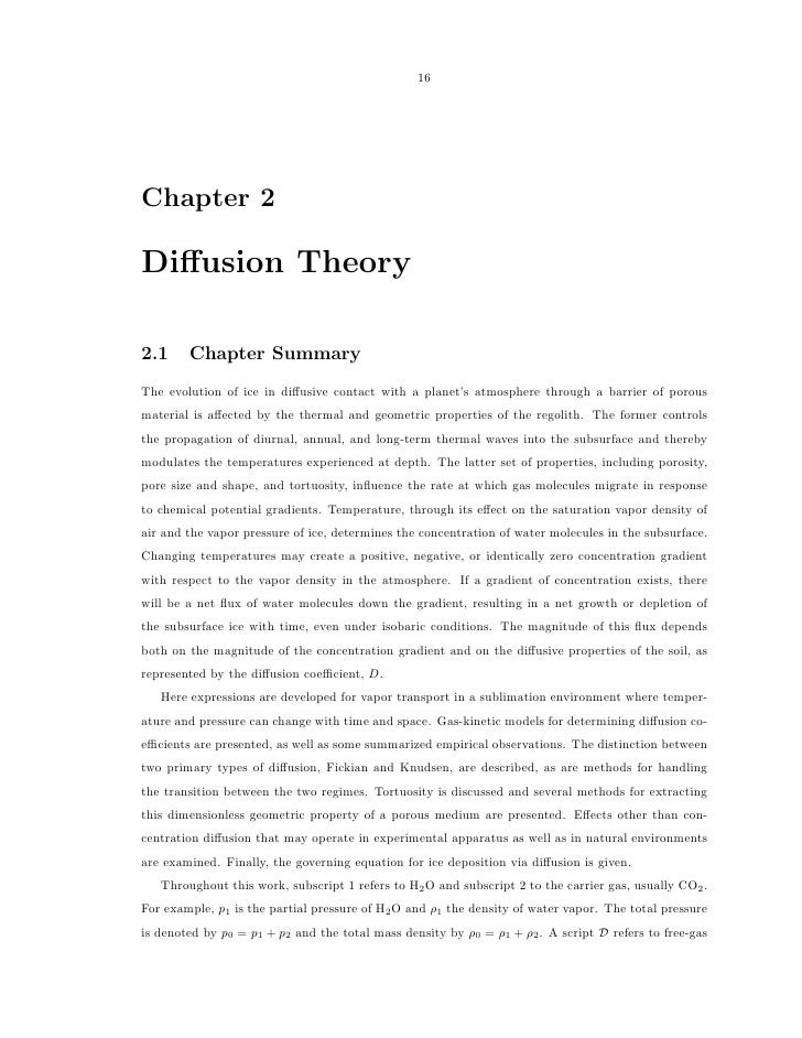 16Chapter 2Diffusion Theory2.1     Chapter SummaryThe evolution of ice in diffusive contact with a planet's atmosphere throu...