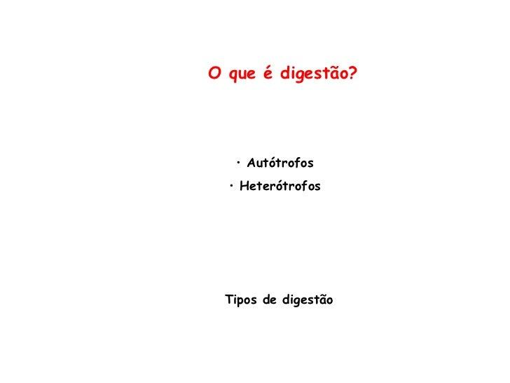 O que é digestão? <ul><li>Autótrofos </li></ul><ul><li>Heterótrofos </li></ul>Tipos de digestão