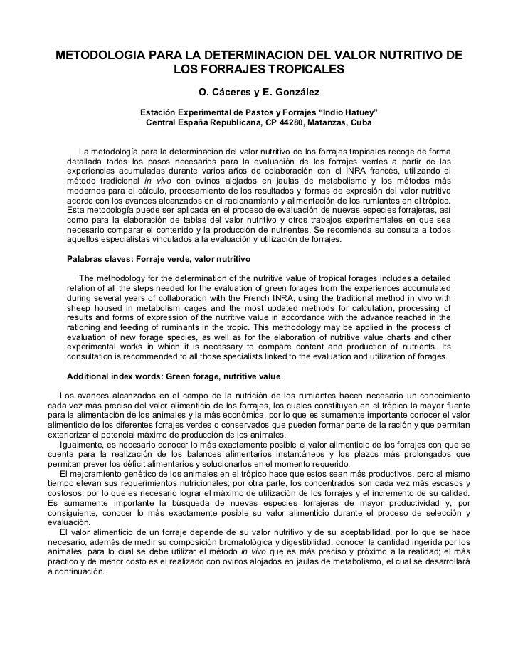 METODOLOGIA PARA LA DETERMINACION DEL VALOR NUTRITIVO DE                 LOS FORRAJES TROPICALES                          ...