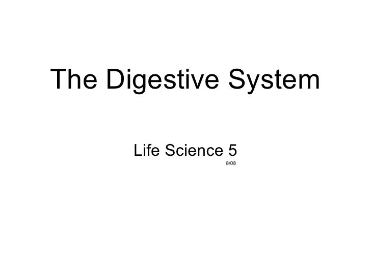 The Digestive System Life Science 5 8/08
