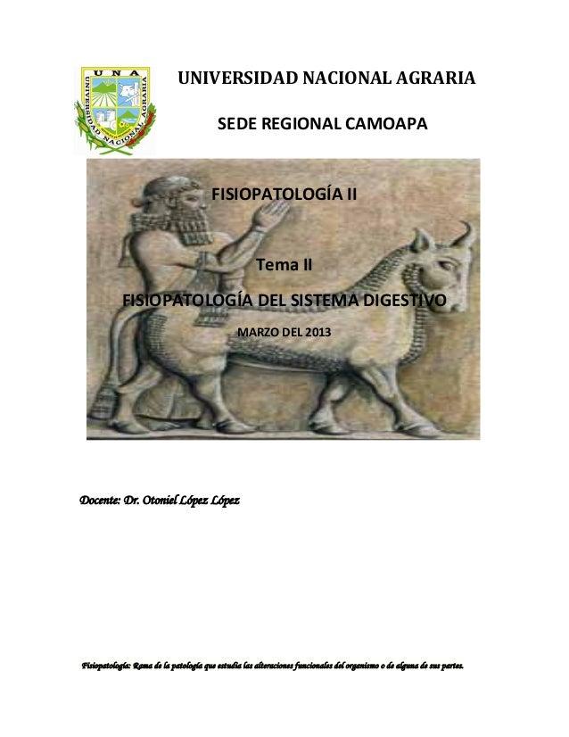 UNIVERSIDAD NACIONAL AGRARIASEDE REGIONAL CAMOAPAFISIOPATOLOGÍA IITema IIFISIOPATOLOGÍA DEL SISTEMA DIGESTIVOMARZO DEL 201...