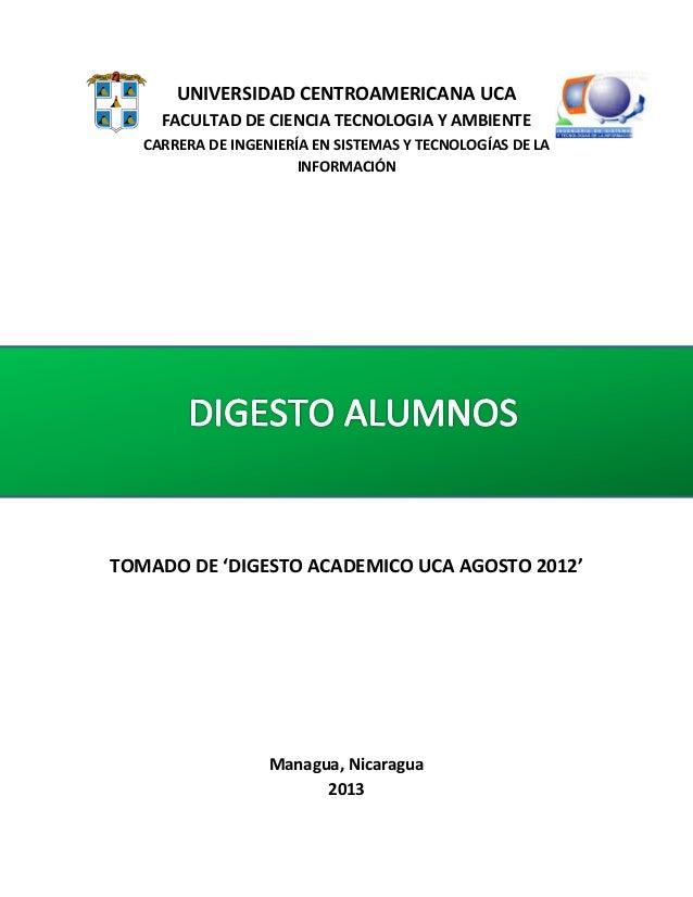 UNIVERSIDAD CENTROAMERICANA UCA FACULTAD DE CIENCIA TECNOLOGIA Y AMBIENTE CARRERA DE INGENIERÍA EN SISTEMAS Y TECNOLOGÍAS ...
