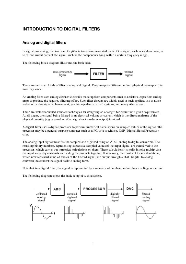 INTRODUCTION TO DIGITAL FILTERSAnalog and digital filtersIn signal processing, the function of a filter is to remove unwan...