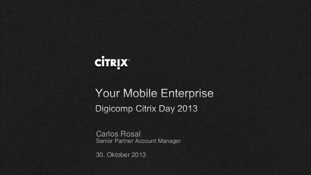 Carlos Rosal Senior Partner Account Manager  30. Oktober 2013