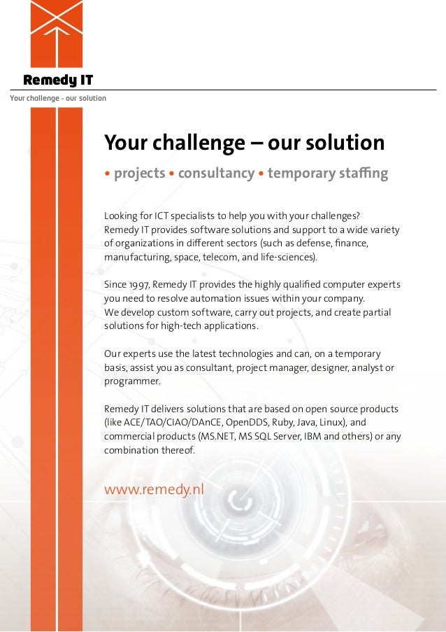 Remedy ITYour challenge – our solution                            Your challenge – our solution                           ...
