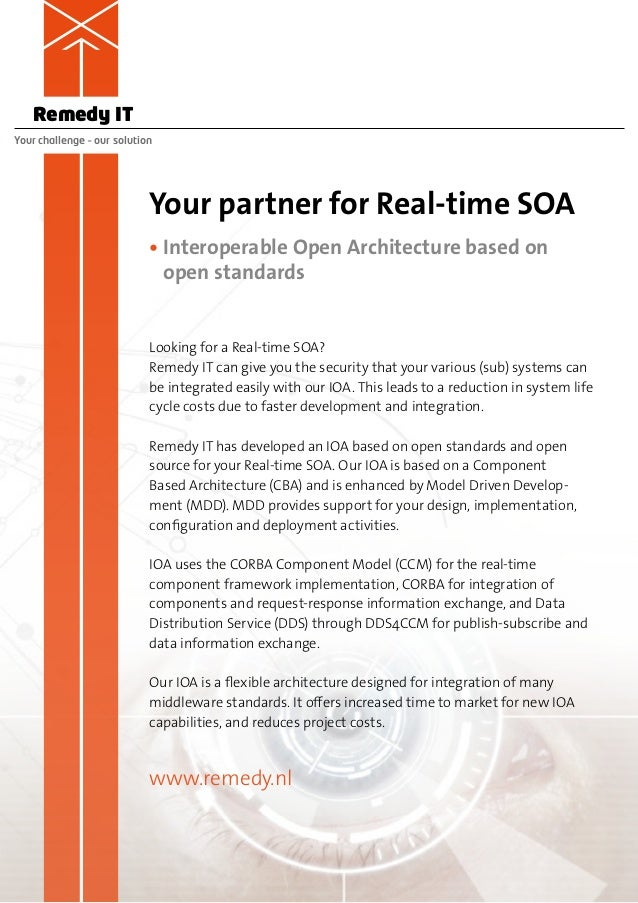 Remedy ITYour challenge – our solution                            Your partner for Real-time SOA                          ...